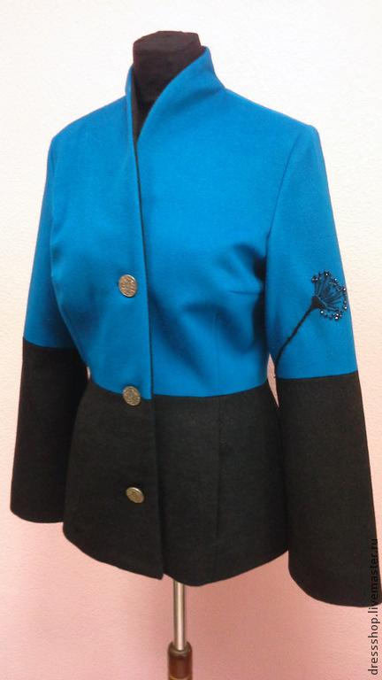 """Верхняя одежда ручной работы. Ярмарка Мастеров - ручная работа. Купить Демисезонное пальто """"Ночные цветы""""- кашемир. Handmade. Бирюзовый"""
