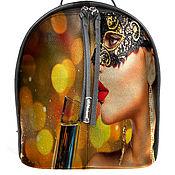Рюкзак женский кожаный с ручной росписью из кожи Маскарад .