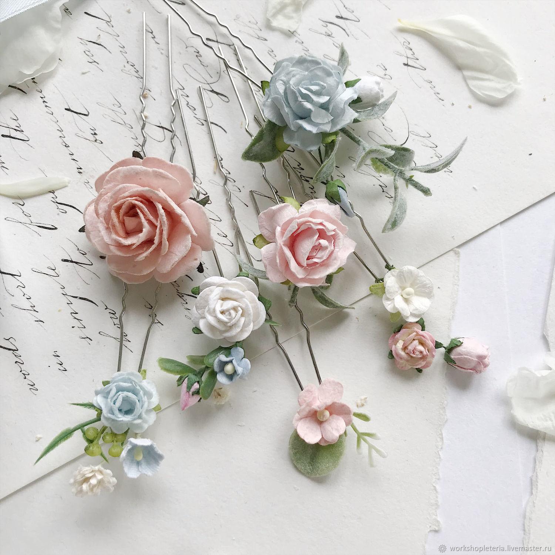 Цветочные шпильки с голубыми и розовыми цветами, шпильки для невесты, Свадебные украшения, Санкт-Петербург, Фото №1