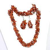 Украшения handmade. Livemaster - original item Necklace, bracelet and earrings made of natural carnelian. Handmade.