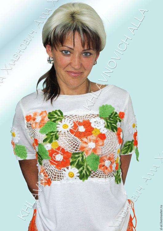 """Блузки ручной работы. Ярмарка Мастеров - ручная работа. Купить Блуза """"Оранжевая песенка"""" Модель 266 Задайте вопрос по этому товару. Handmade."""