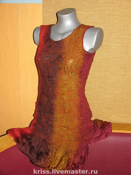 Платья ручной работы. Ярмарка Мастеров - ручная работа. Купить платье Осень. Handmade. Нуно-войлок, войлок, шерсть, платье