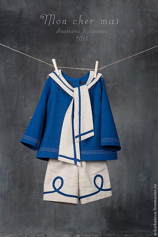 Одежда унисекс ручной работы. Ярмарка Мастеров - ручная работа. Купить Комплект для девочки и мальчика. Handmade. Тёмно-синий, лён