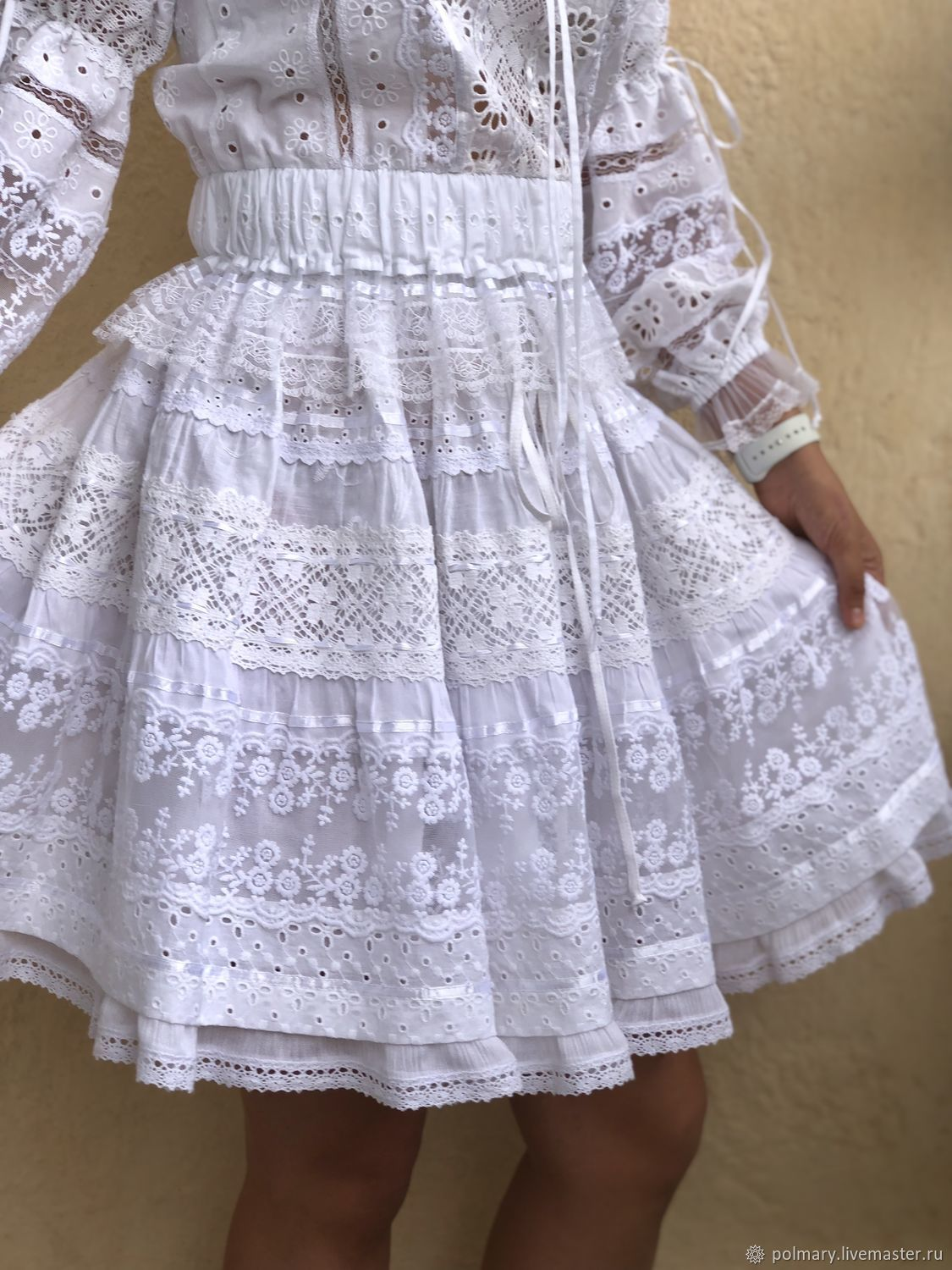 White skirt made of cotton, sewing and lace in boho-Odette style, Skirts, Tashkent, Фото №1