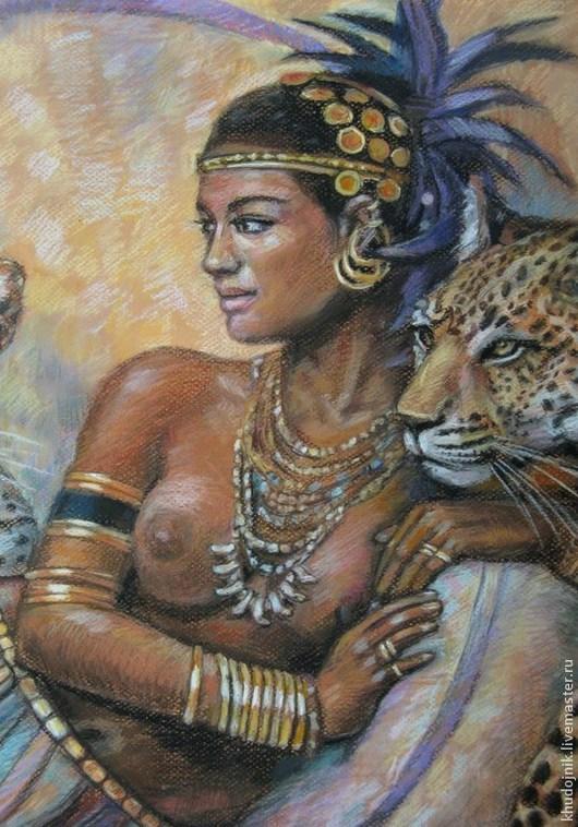 Люди, ручной работы. Ярмарка Мастеров - ручная работа. Купить Девушка с леопардами. Handmade. Девушка, гепард, секс