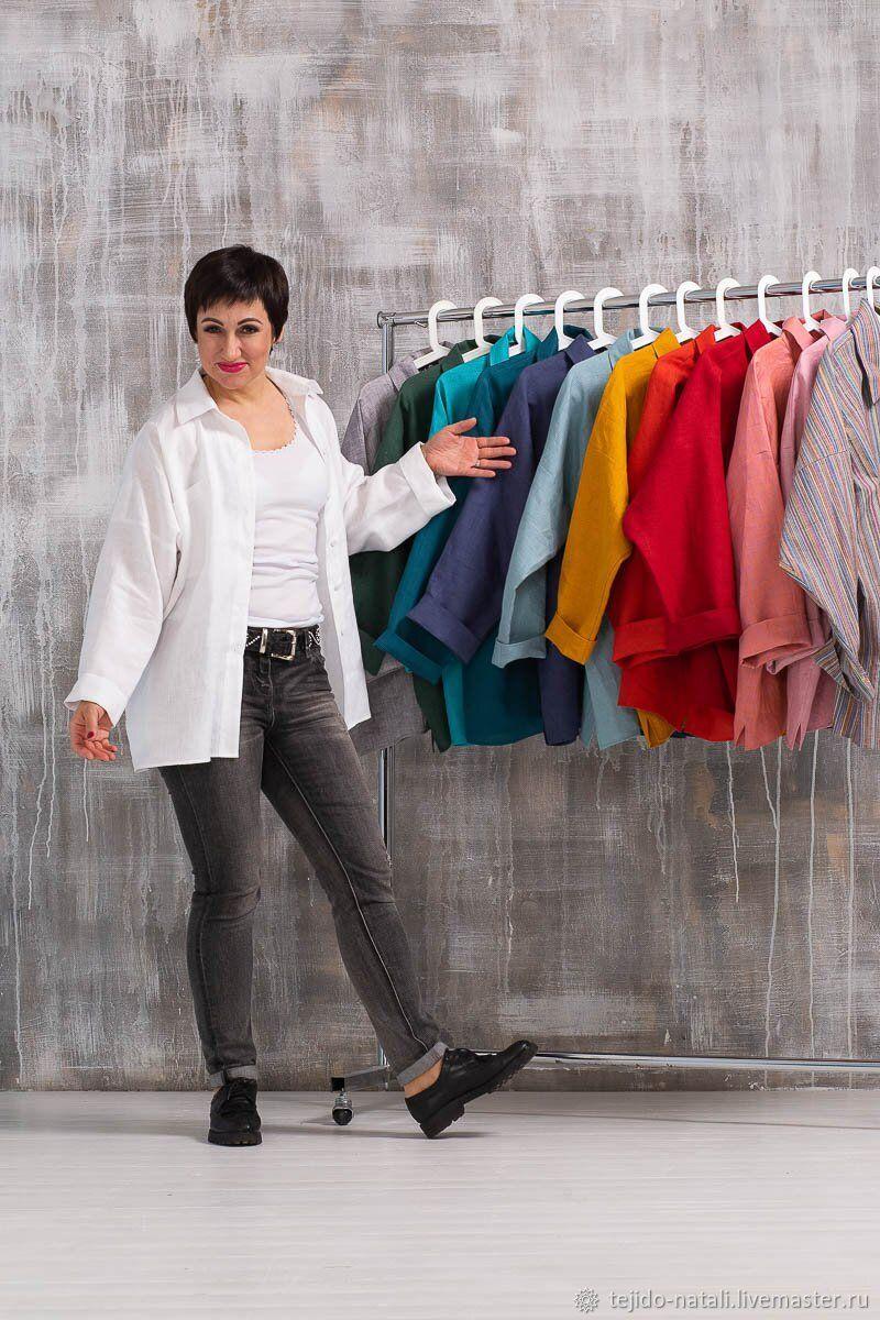 50772df980c Белая льняная рубашка в мужском стиле оверсайз – купить в интернет ...