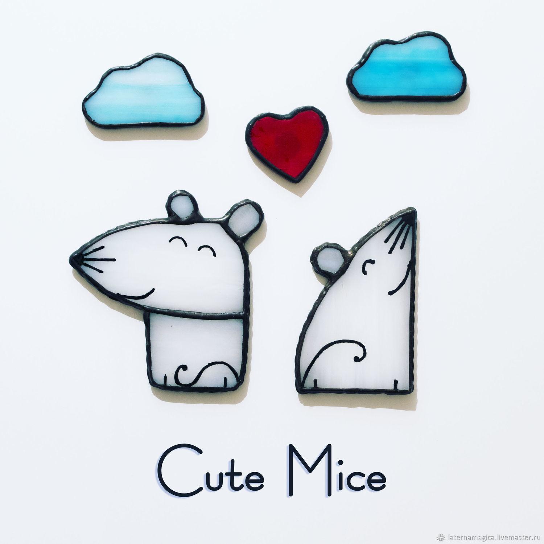 Магниты на холодильник из стекла Милые Мышата Cute Mice Счастье #080, Магниты, Новосибирск,  Фото №1