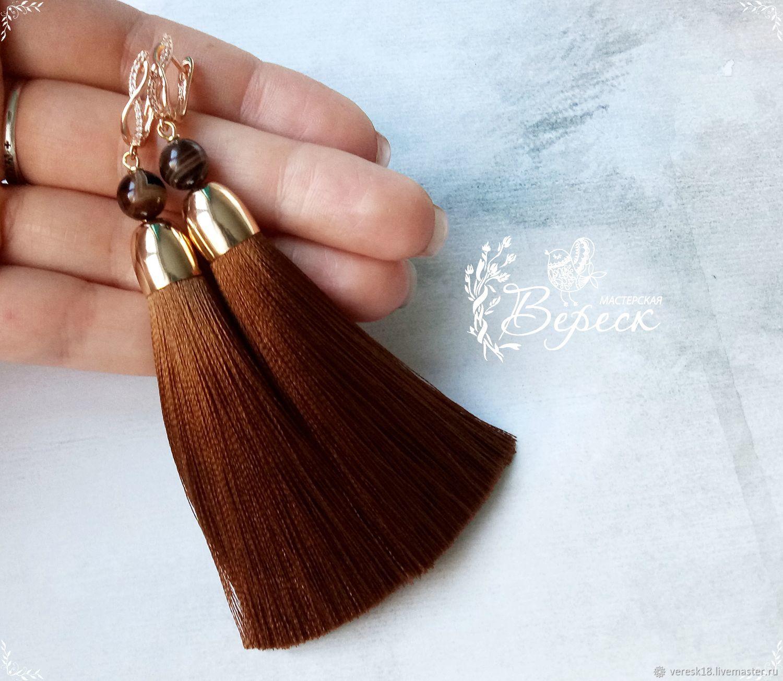 Earrings-brushes with agate, Tassel earrings, Izhevsk,  Фото №1