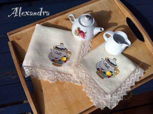 """Кухня ручной работы. Ярмарка Мастеров - ручная работа. Купить Салфетки """"Веселый чайник"""". Handmade. Чашка, чайник"""