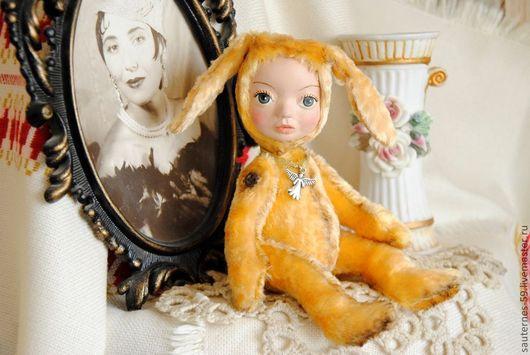 Коллекционные куклы ручной работы. Ярмарка Мастеров - ручная работа. Купить солнечная зайка. Handmade. Желтый, полимерная глина deco