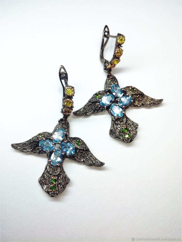 Earrings 'Symbol of happiness' with blue Topaz, Earrings, Novaya Usman,  Фото №1