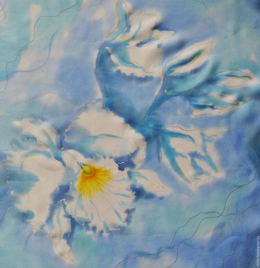 Шали, палантины ручной работы. Ярмарка Мастеров - ручная работа. Купить Платок Зимние орхидеи.. Handmade. Голубой
