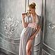 `Жемчужина` - пеньюар жемчужно-серого цвета с розовым кружевом. Эксклюзивное белье от Mila Manina (Людмила Манина).