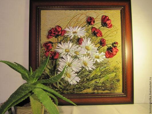 """Картины цветов ручной работы. Ярмарка Мастеров - ручная работа. Купить картина вышитая лентами""""Ветер в поле"""". Handmade. Атласные ленты"""