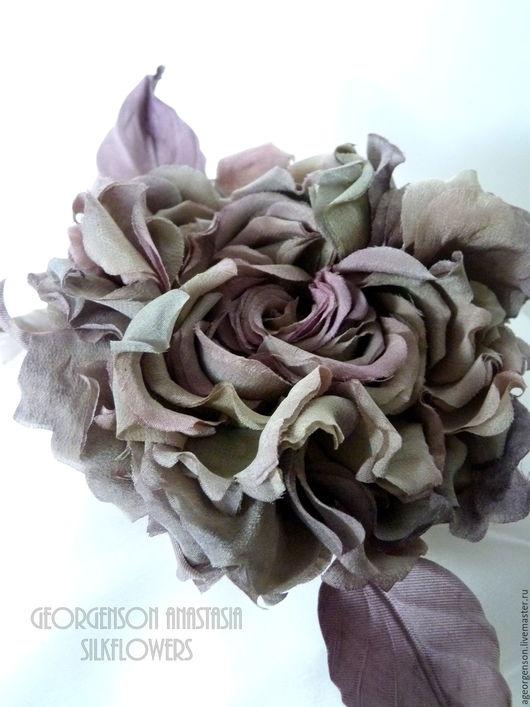 """Цветы ручной работы. Ярмарка Мастеров - ручная работа. Купить Шелковая роза """"Лесная Нимфа"""". Handmade. Комбинированный, роза для прически"""
