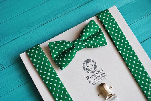 Комплекты аксессуаров ручной работы. Ярмарка Мастеров - ручная работа. Купить Бабочка и подтяжки Green Day / зеленая бабочка галстук в горошек. Handmade.