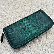 Wallets handmade. Livemaster - original item Green wallet with zipper made of Python. Handmade.