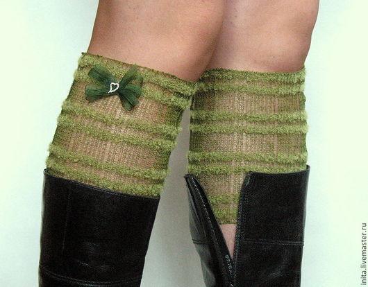 Носки, Чулки ручной работы. Ярмарка Мастеров - ручная работа. Купить Мини гетры зеленые  кружевной вязки из лняной пряжи. Handmade.