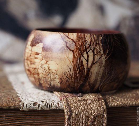Браслеты ручной работы. Ярмарка Мастеров - ручная работа. Купить Загадки осеннего леса - деревянный браслет, ручная роспись. Handmade.