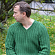 Для мужчин, ручной работы. Мужской пуловер из резинки с косами. Knitted Sea. Ярмарка Мастеров. Свитер вязаный, свитер