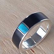 Украшения handmade. Livemaster - original item Ring: Water eye - male silver ring with wood and turquoise. Handmade.