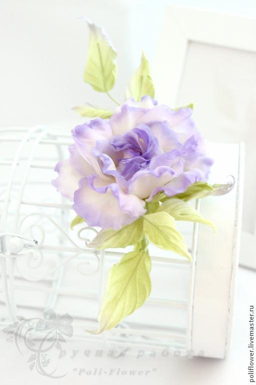 """Броши ручной работы. Ярмарка Мастеров - ручная работа. Купить Роза """"Profumo di lilla"""". Натуральный шелк.. Handmade. Сиреневый"""