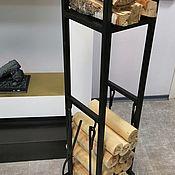 Камины ручной работы. Ярмарка Мастеров - ручная работа Камины: Стеллаж для дров Лофт D780BK + переноска. Handmade.