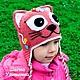 Шапки и шарфы ручной работы. Шапка кошка с цветами. Прикольные детские шапки крючком. Ярмарка Мастеров. Для девочки