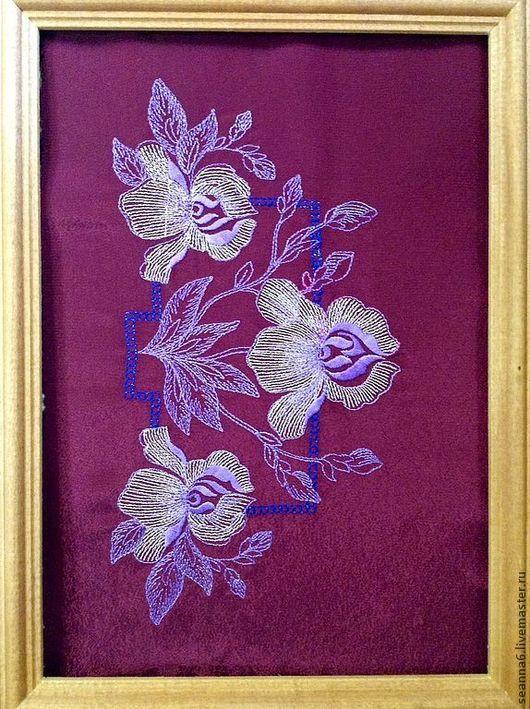 """Аппликации, вставки, отделка ручной работы. Ярмарка Мастеров - ручная работа. Купить Вышивка на одежде, картине """"Три орхидеи"""". Handmade."""