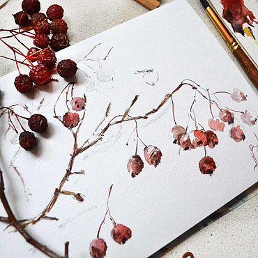 Картины и панно ручной работы. Ярмарка Мастеров - ручная работа Рябина, акварель, картина, недорого. Handmade.