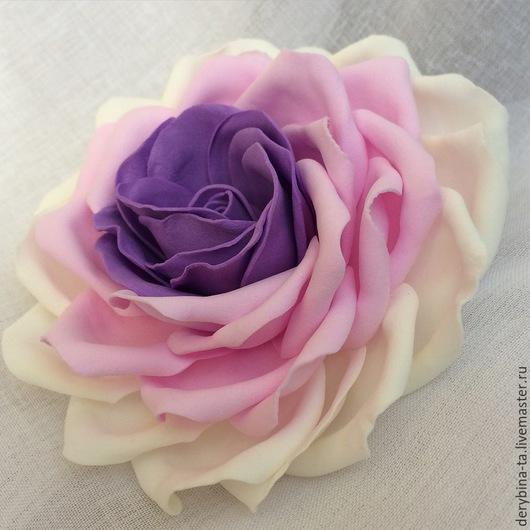 Заколки ручной работы. Ярмарка Мастеров - ручная работа. Купить Роза из фоамирана Нежность.. Handmade. Розовый, резинка для волос