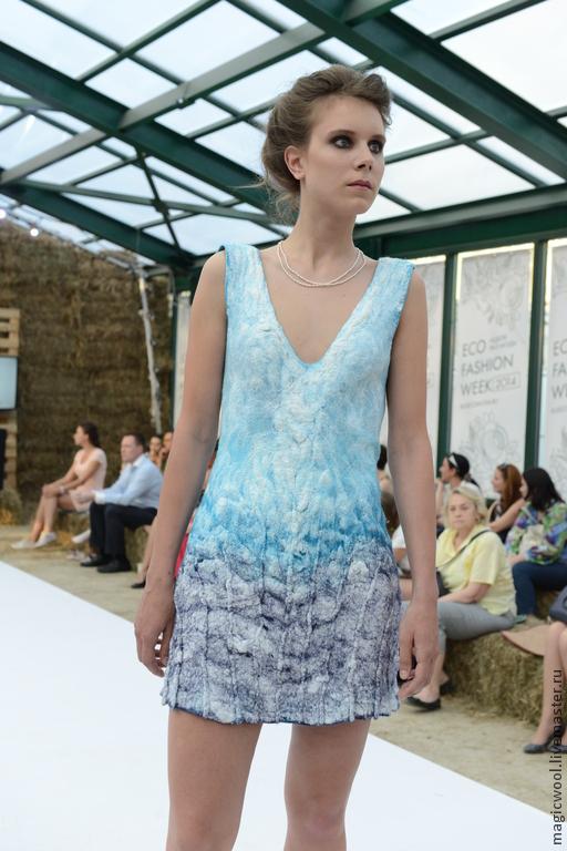 Платья ручной работы. Ярмарка Мастеров - ручная работа. Купить Маленькое платье войлок валяное. Handmade. Голубой, море, Афродита