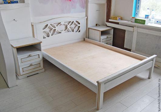Мебель ручной работы. Ярмарка Мастеров - ручная работа. Купить Кровать из дуба. Handmade. Белый, лак, эмаль