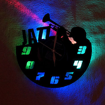 For home and interior handmade. Livemaster - original item Wall clock with led light from the album jazz. Handmade.