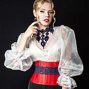 Одежда ручной работы. Ярмарка Мастеров - ручная работа Корсет-пояс утягивающий  «Инфанта»  из красного атласа с кружевом. Handmade.