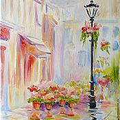 """Картины и панно ручной работы. Ярмарка Мастеров - ручная работа картина """"Розовый город. Дождь"""". Handmade."""
