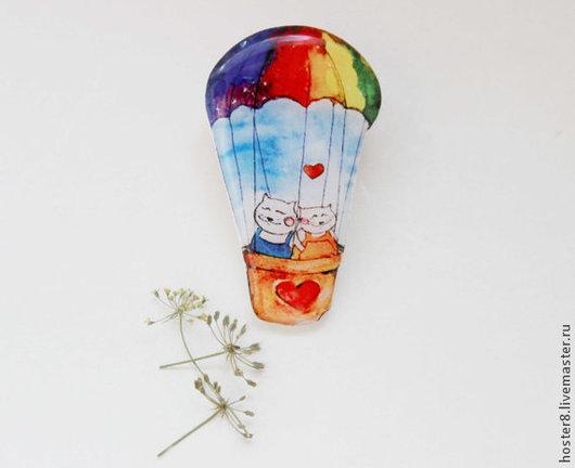 """Броши ручной работы. Ярмарка Мастеров - ручная работа. Купить Брошь """"Котики на воздушном шаре"""" (0115). Handmade. Голубой, брошки"""