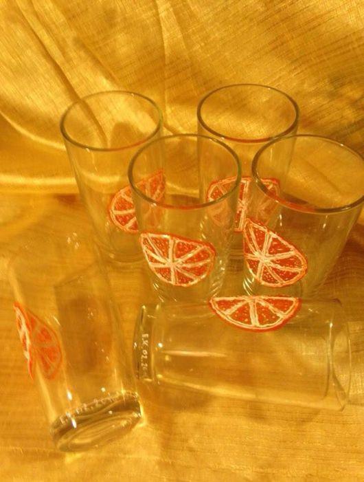 Бокалы, стаканы ручной работы. Ярмарка Мастеров - ручная работа. Купить Стаканы Grapefruit.. Handmade. Купитьстаканы, стакан ручной работы