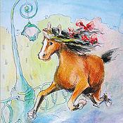 Открытки handmade. Livemaster - original item Postcard Happy horse. Handmade.