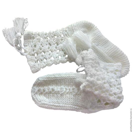 """Обувь ручной работы. Ярмарка Мастеров - ручная работа. Купить Вязаные женские носки """"Белоснежный ажур"""".. Handmade. Белый"""