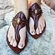 """Обувь ручной работы. Ярмарка Мастеров - ручная работа. Купить Кожаные сандалии """"Crazy Moroccan"""". Handmade. Коричневый, шлепки"""