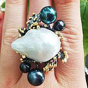 Украшения handmade. Livemaster - original item Black pearl ring with Baroque and classic pearls. Handmade.