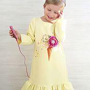 Работы для детей, handmade. Livemaster - original item Elegante brillante vestido con mangas y estampado de helados para las niñas. Handmade.