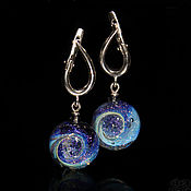 Украшения handmade. Livemaster - original item Earring balls Mysterious Space Purple blue silver Lampwork Glass. Handmade.