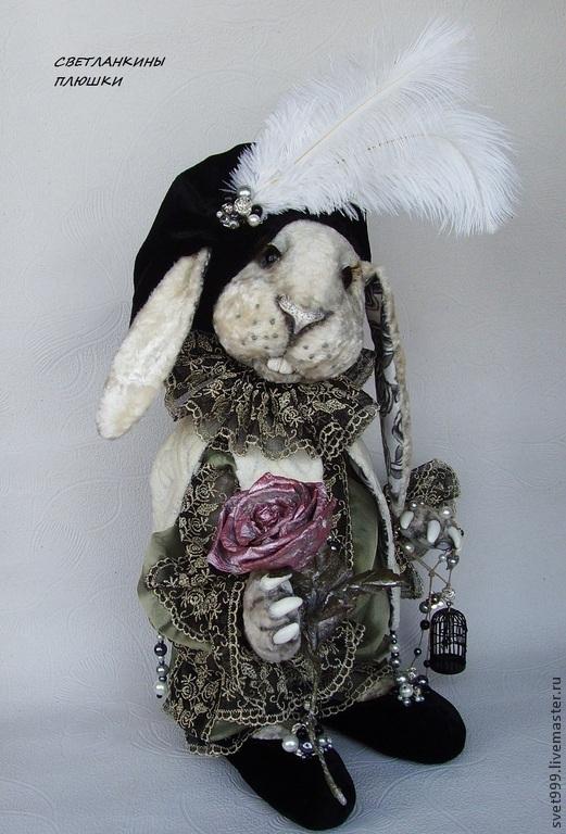 """Мишки Тедди ручной работы. Ярмарка Мастеров - ручная работа. Купить плюшевый кролик """"Пьеро- Кавалер Туманной Розы"""". Handmade."""
