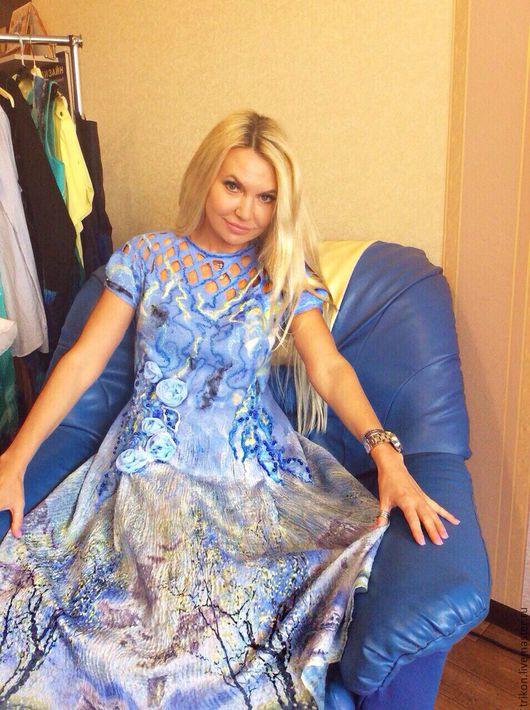 """Платья ручной работы. Ярмарка Мастеров - ручная работа. Купить Платье """"Небесная синева"""". Handmade. Голубой, платье на каждый день"""