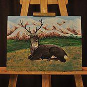 Картины и панно ручной работы. Ярмарка Мастеров - ручная работа Олень. Handmade.