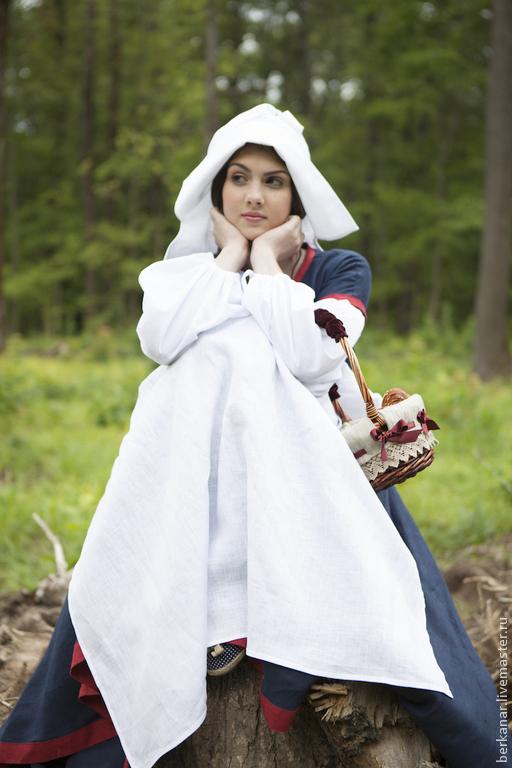 """Платья ручной работы. Ярмарка Мастеров - ручная работа. Купить Средневековый костюм """"Незабудка"""". Льняное платье, батистовая рубашка,. Handmade."""