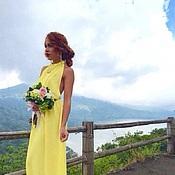 Одежда ручной работы. Ярмарка Мастеров - ручная работа Шифоновое желтое платье с открытой спиной. Handmade.