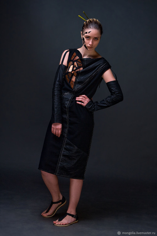 Dresses handmade. Livemaster - handmade. Buy Black Midi Woolen Dress Linen Plate Decorated Combi Dress.Evening dress